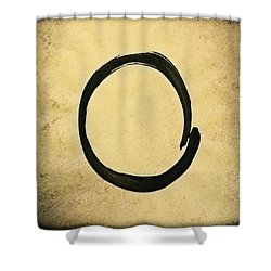 Enso #4 - Zen Circle Abstract Sand And Black Shower Curtain
