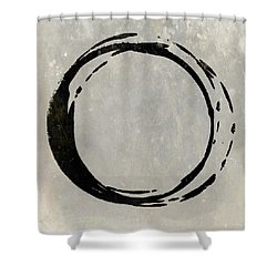 Enso No. 107 Black On Taupe Shower Curtain