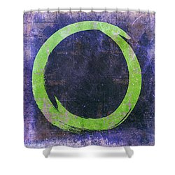 Enso No. 108 Green On Purple Shower Curtain