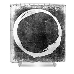 Enso No. 109 White On Black Shower Curtain