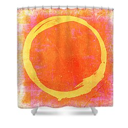 Enso No. 109 Yellow On Pink And Orange Shower Curtain