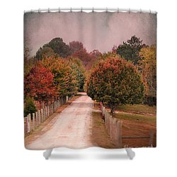 Enter Fall Shower Curtain by Jai Johnson