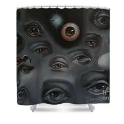 Enter-preyes Shower Curtain by Lisa Phillips Owens