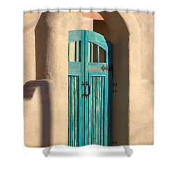 Shower Curtain featuring the photograph Enter Turquoise by Barbara Chichester