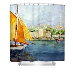 Entering The Port - Foca Izmir Shower Curtain