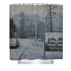 Shower Curtain featuring the painting Entering The Town Of Twin Peaks 5 Miles South Of The Canadian Border by Luis Ludzska