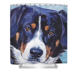 Entlebucher Mountain Dog Shower Curtain by Lee Ann Shepard