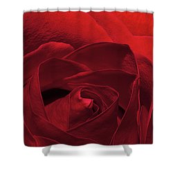 Enveloped In Red Shower Curtain by Phyllis Denton
