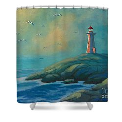 Envisioning Peggys Cove Lighthouse Shower Curtain by John Malone