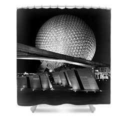 Epcot Glow Bw Shower Curtain