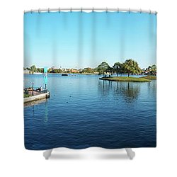 Epcot World Showcase Lagoon Panorama 05 Walt Disney World Shower Curtain by Thomas Woolworth
