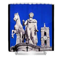 Equestrian Statue At Capitoline Hill Shower Curtain by Stefano Senise