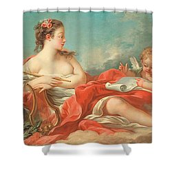 Erato  The Muse Of Love Poetry Shower Curtain by Francois Boucher