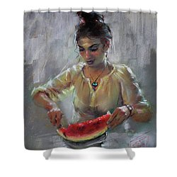 Erbora With Watermelon Shower Curtain by Ylli Haruni