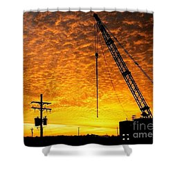 Erecting A Sunset In Beaumont Texas Shower Curtain