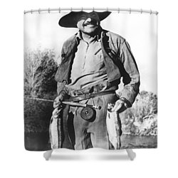 Ernest Hemingway Fishing Shower Curtain by Underwood Archives