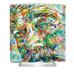 Ernest Hemingway Watercolor Portrait.1 Shower Curtain by Fabrizio Cassetta