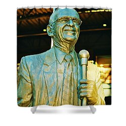 Ernie Harwell Statue At The Copa Shower Curtain