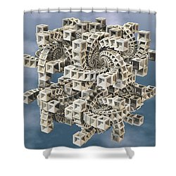 Shower Curtain featuring the digital art Escher's Construct by Manny Lorenzo