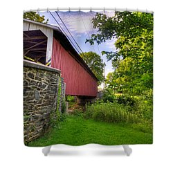 Shower Curtain featuring the photograph Eshelman's Mill Covered Bridge by Jim Thompson