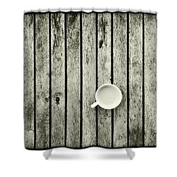Espresso On A Wooden Table Shower Curtain