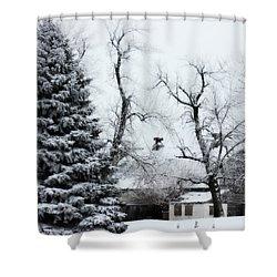 Estherville Barn Shower Curtain by Julie Hamilton