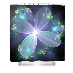 Ethereal Flower In Blue Shower Curtain