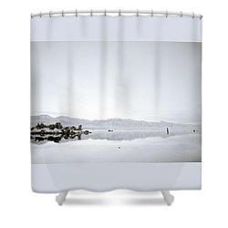 Ethereal Mono Lake Shower Curtain by Shaun Higson