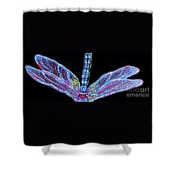 Shower Curtain featuring the painting Ethereal Wings Of Blue by Kimberlee Baxter