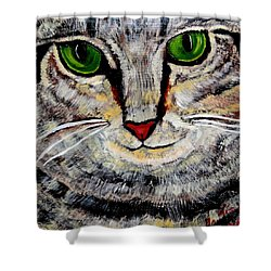 Ethical Kitty See's Your Dilemma Shower Curtain by Lisa Brandel