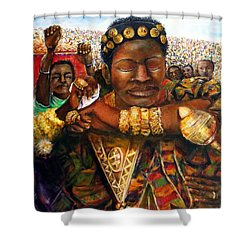 Shower Curtain featuring the painting Ethiopia Dancing  by Bernadette Krupa