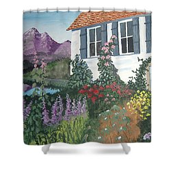 Shower Curtain featuring the painting European Flower Garden by Norm Starks