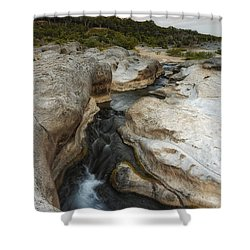 Even Flow At The Pedernales Texas Hill Country Shower Curtain by Silvio Ligutti