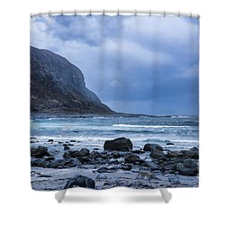 Evening At The Seaside In Rain Shower Curtain