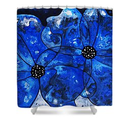 Evening Bloom Blue Flowers By Sharon Cummings Shower Curtain by Sharon Cummings