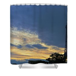 Evening By The Eiffel Tower Shower Curtain by Maj Seda
