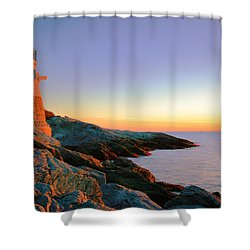 Evening Calm At Castle Hill Lighthouse Shower Curtain by Roupen  Baker