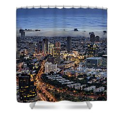Shower Curtain featuring the photograph Evening City Lights by Ron Shoshani