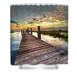 Evening Dock Shower Curtain by Debra and Dave Vanderlaan