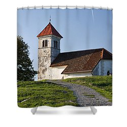 Evening Glow Over Church Shower Curtain