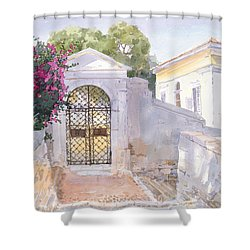 Evening Hroussa Shower Curtain by Lucy Willis