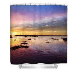 Evening Light Shower Curtain by Debra and Dave Vanderlaan