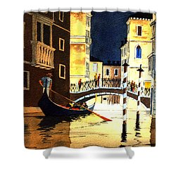 Shower Curtain featuring the painting Evening Lights - Venice by Bill Holkham