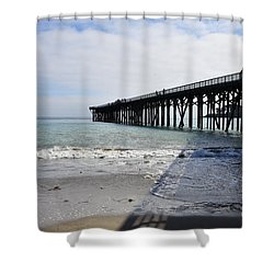 Shower Curtain featuring the photograph Evening Pier Shadows Are Lost In The Surf by Debby Pueschel