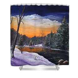Evening Reflection Shower Curtain by Anastasiya Malakhova