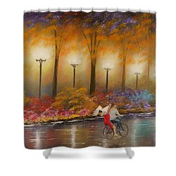 Shower Curtain featuring the painting Evening Ride by Chris Fraser
