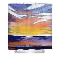 Evening Seascape Shower Curtain by Lou Gibbs