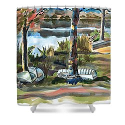 Evening Shadows At Shepherd Mountain Lake  No W101 Shower Curtain