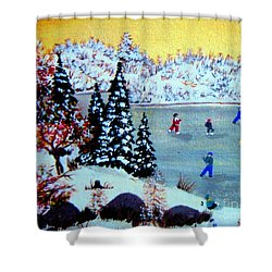 Evening Skating Shower Curtain by Barbara Griffin
