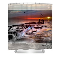 Evening Stroll At The Beach -featured In 'cards For All Occasions'comfortable Art'  'digital Veil Shower Curtain by EricaMaxine  Price